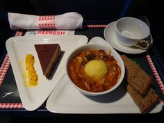 Austrian Airlines Business Class Meal - Lunch A320  Photo: Calvin Wood