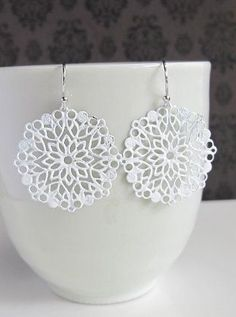 Winter Inspired Snowflake Dangle Earrings