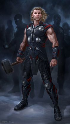 Thor - The Avengers Concept Art by Andy Park Odin Marvel, Marvel Comics, Marvel Heroes, Marvel Avengers, Avengers 2012, Marvel Cake, Thor Wallpaper, Mobile Wallpaper, Norse Mythology