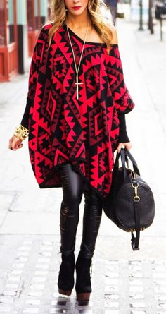 Winter street style - Red and Black