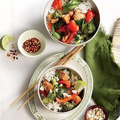 Fresh basil perfumes the sauce in Chicken and Basil Rice Bowl with Cashews and makes a pretty garnish. You can substitute chopped unsalted peanuts for the cashews as well.
