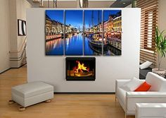 "Extra Large Canvas Art Print Painting Italy Venice Night HD Picture Home Decor, Oversized Venice Wall Art, Living Room, Denim. Extra Large Canvas Art Print Painting Italy Venice Night HD Picture Home Decor Subject : Venice Style : Photography Panels : 4 Detail Size : 24""x60""x4 Overall Size : 99""x60"" = 251cm x 152cm Medium : Giclee Print On Canvas Condition : Brand New Frames : Gallery wrapped Availability: *Important: This is a very large size wall art, and we are not able to ship it..."
