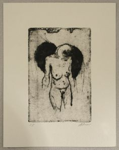 Original hard ground and drypoint etching by mrchurchyard on Etsy