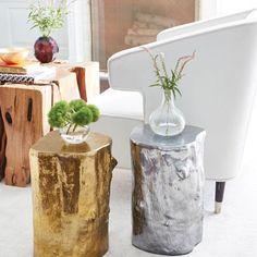 Organic, metallic log stools