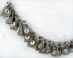 "Advent Calendar Bags  - Set of 24 Linen  Numbered Bags - 4"" x 6"""
