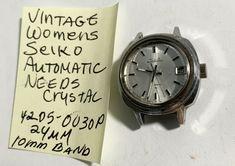 Vintage Womens Seiko Automatic Runs 4205 0030P Needs Crystal 24mm #Seiko
