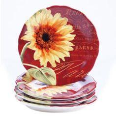 Certified+International+Paris+Sunflower+4-pc.+Salad+Plate+Set