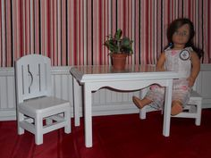 American girl table & 2-chairs set. By: WOODNTHINGSBYFRANK on Etsy