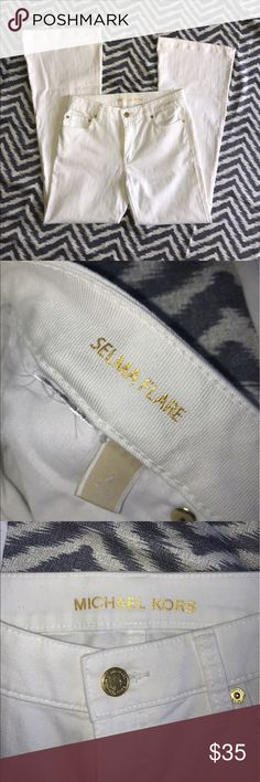 "Michael Kors, Selma Flare SZ 2 Gorgeous like new condition, super sexy! Just below belly fit, 28"" inseam, bright white Michael Kors Jeans Flare & Wide Leg"
