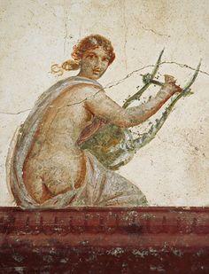 Citharista.  Fresco in room 30 (diaeta) adjoining the large portico. Mid-1st century C.E. Stabiae, Villa San Marco, room 30.