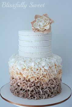 A Ruffled Ombre Moccha Engagement Cake