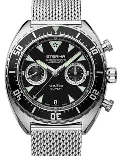 """Eterna Super KonTiki Chronograph Watch - by Richard Cantley - on aBlogtoWatch.com """"Just in time for Baselworld 2016, Eterna is releasing the vintage-inspired Super Kontiki Chronograph. Keeping in line with the styling of last year's reintroduction of the Super Kontiki, Eterna is adding a chronograph complication to the retro diver that joins the family of one of their most popular collections. Paying homage to Thor Heyerdahl's wooden-raft voyage..."""""""