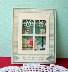 Love the Madison window!    Looking in. Cute scene. Papertrey filigree border die curtains, comfy chair stamps?
