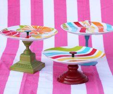 Fun and colorful DIY cake stand Fun Crafts, Diy And Crafts, Arts And Crafts, Upcycled Crafts, Repurposed, Porta Cupcake, Diy Gifts, Handmade Gifts, Cake And Cupcake Stand