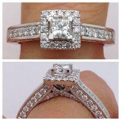 Princess Cut Engagement Ring - Square Cut Halo Engagment Ring Wedding 1 ct Diamond Ring 14K White Gold