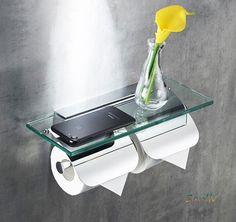 Twin Roll Toilet Paper Holders with Covers and Glass Shelf by Sanliv