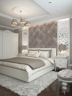 While glittering living rooms and blinding entryways are often the rule, Luxury Master Bedroom interior design is more restrained. Luxury Bedroom Design, Master Bedroom Design, Interior Design, Bedroom Designs, Master Bedrooms, Simple Bedroom Design, Luxury Decor, Room Interior, Master Suite
