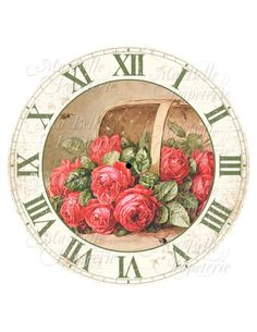 Clock-DIY Clock Face with Vintage Image Of Red Roses in a Basket