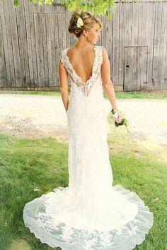 Lace wedding dress, open back... beautiful!