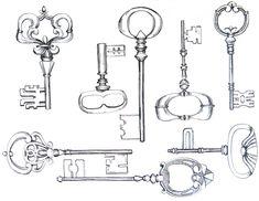 old fashioned key illustration