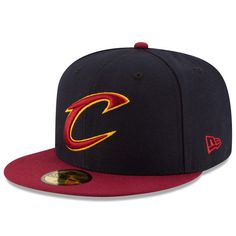 57c3576e3e2 Cleveland Cavaliers New Era Official Team Color 2Tone 59FIFTY Fitted Hat -  Navy Wine
