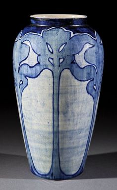 Newcomb College Art Pottery High Glaze Vase, decorated by Marie de Hoa LeBlanc with a pattern of stylized foliage in underglaze blue click the image or link for more info. Ceramic Pottery, Pottery Art, Ceramic Art, Pots, Arts And Crafts Movement, Vintage Pottery, Decorative Tile, American Art, Stoneware