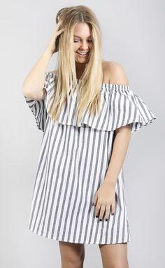 stripe right off shoulder dress