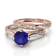 Gold / Platinum Round cut Tanzanite and Diamond Bridal Set Ring Bridal Ring Sets, Gold Platinum, Sapphire, Rose Gold, Diamond, Rings, Jewelry, Jewlery, Jewerly