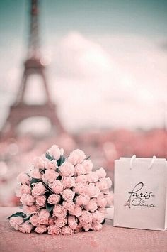 Paris en Rose for a romantic Valentine's Day Tour Eiffel / Pink Roses / Heart / Love