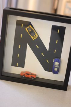 road with car shadow box