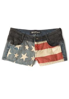 Fireworks Attire Shorts. Enjoy your favorite American pastimes in the patriotic style of these vintage-wash jean shorts! #blue #modcloth