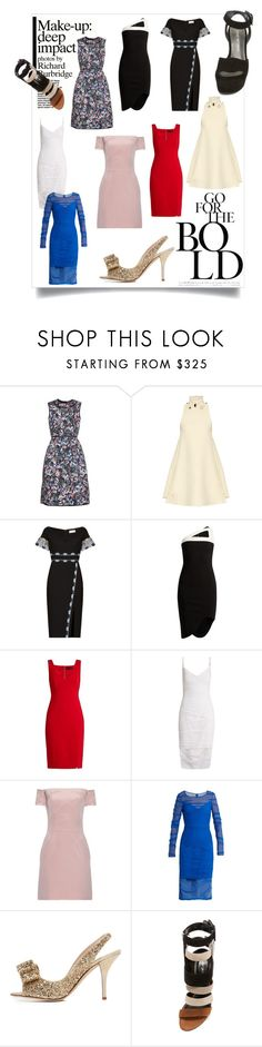 """""""Party Dress"""" by bonnielindsay ❤ liked on Polyvore featuring Erdem, Thomas Tait, Peter Pilotto, Thierry Mugler, Versace, Raey, Kate Spade, Sergio Rossi and Stuart Weitzman"""