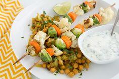 Roasted Vegetable Kebabs with Curried Chickpeas and Yogurt Sauce
