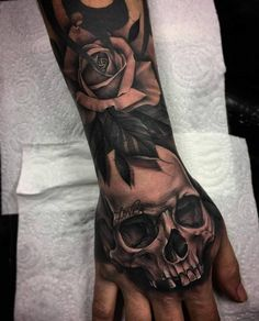 Fantastic Back of Hand Tattoo - Katie Wood - # Back of Hand . - Fantastic Back of Hand Tattoo - Katie Wood - # Hand back tattoo - Fantastic Back of Hand Tattoo - Katie Wood - Skull Rose Tattoos, Skull Sleeve Tattoos, Best Sleeve Tattoos, Sleeve Tattoo For Guys, Totenkopf Tattoo Hand, Totenkopf Tattoos, Full Hand Tattoo, Man Hand Tattoo, Hand Tats