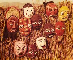 Korean masks (탈)have a long tradition with use in a variety of contexts. They were used in war, on both soldiers and their horses; ceremonially, for burial rites in jade and bronze and for shamanistic ceremonies to drive away evil spirits; to remember the faces of great historical figures in death masks; and in the arts, particularly in ritual dances, courtly, and theatrical plays.The masks were often made of alder wood, with several coats of lacquer to give the masks gloss, and…