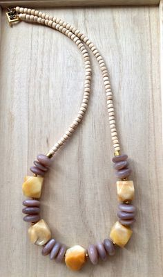 Wooden bead necklace with peach Moonstone and Red Aventurine nuggets, Chunky Statement Necklace by heartsofROMA on Etsy https://www.etsy.com/listing/226564124/wooden-bead-necklace-with-peach