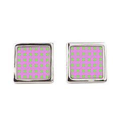 Square Cufflinks Mod Pink Green Circle Pattern #cafepress #cufflinks #jewelry #style