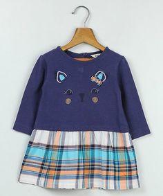 Another great find on #zulily! Blue Plaid Cat Face Drop-Waist Dress - Infant, Toddler & Girls #zulilyfinds