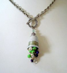 Vintage Music Advertisement Metal Thimble with Glass Cascading Beads, Cleft Note Charm, Silver Rope Chain, Front Toggle Necklace