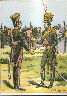 French; 27th Chasseurs a Cheval(Les Chevau-Legers du duc d'Arenberg), Captain, Tenue de Route & Colonel Duc du Arenberg, Grande Tenue, 1806