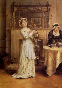 Laying for Tea,by George Goodwin Kilburne (English, 1839-1924)