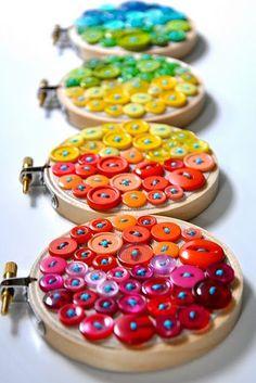 Button embroidery hoop art