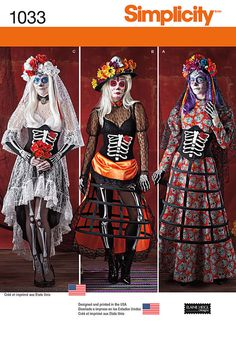 misses' day of the dead costumes feature corsets with bone and heart appliques, blouse and skirts in different fabrics and lace, skeleton hoop skirt, and lace veils. elaine heigl for simplicity.