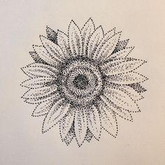Dotwork sunflower #dotwork #tattoo #design #blackwork