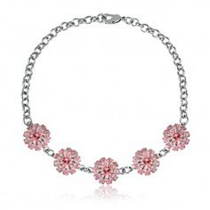 Pulseira flor com mini cristais rosa folheado em rhodium - PL4C3182