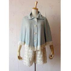 Women Restore Platoon Buckle Plain Cloak Blends Shawls Short Blue Coat... ($7.99) via Polyvore