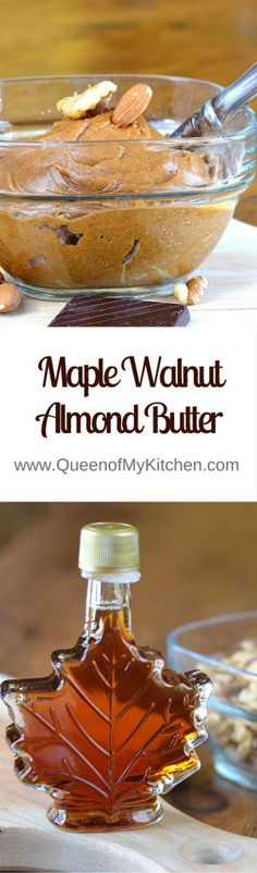 Maple Walnut Almond Butter. A delicious variation on almond butter.   QueenofMyKitchen.com
