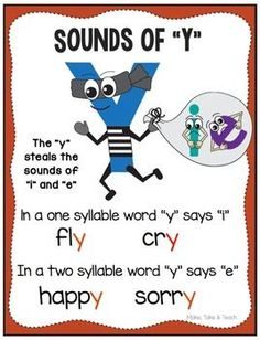 "Teaching the vowel sounds of y can be tons of fun when you use the story and graphic of the y ""stealing"" the sounds of ""i"" and ""e"". Students often find visuals helpful when learning a new skill. Feel free to download this sounds of y poster. Enjoy!"