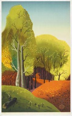 edward mcknight kauffer, wooded landscape scene, 1938