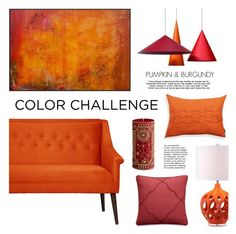 """Color Challenge: Pumpkin & Burgundy"" by lgb321 ❤ liked on Polyvore featuring interior, interiors, interior design, home, home decor, interior decorating, MANGO, Safavieh and Pier 1 Imports"